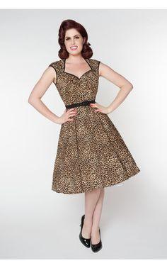 Heidi Dress in Leopard Print - Pinup Girl Clothing