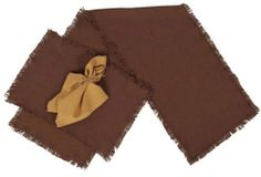 """Burlap Chocolate Runner Fringed 13x90"""" by Victorian Heart. $14.95. All cloth items in our collections are 100% preshrunk cotton. All braided items (like rugs, baskets, etc.) are 100% jute. Extensive line of matching items and accessories available! (Search by Collection name). Chocolate color. High end quality and workmanship!. Product measurements and additional details listed in title and/or Product Description below.. This runner (shown in picture with matching plac..."""