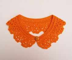 Safron Orange Peter Pan Crochet Collar by Corcra on Etsy, Crochet Collar, Knit Crochet, Pattern Making, Peter Pan, Orange Color, Fashion Forward, Crochet Necklace, Goodies, Knitting