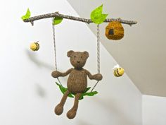 Woodland mobile Bear and Bees Baby Boy or Girl by SweetBauerKnits