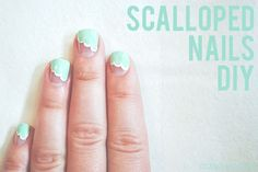 susannahbean: Scalloped Nails  Like this for wedding but without clear part... maybe all blue with scalloped white line or filled in with white.