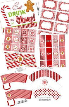 Free Christmas Holiday Party Printables.  Adorable mini candy bar wrappers, drink, popcorn and cupcake wrappers, buffet labels, etc.