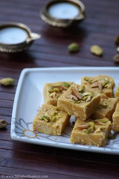 Besan Condensed Milk Burfi Recipe for #Diwali - An Indian fudge made with chickpea flour and condensed milk. step by step recipe. blendwithspices.com