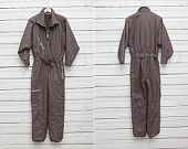 1980s A Brown Skirwear Onepiece Snow Suit by All Sport / Size 40 / Snowboarding Gear