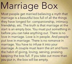 Marriage Box ~ If you take out more than you put in, the box will be empty. I'm not married yet, but I think this is something any couple going to the alter should acknowledge this beforehand.