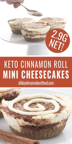 Keto Cinnamon Roll Cheesecake This easy low carb Cinnamon Roll Cheesecake comes in individual servings for perfect portion control! The perfect mini sugar-free cheesecakes that taste just like cinnamon rolls. You might even want to eat them for breakfast! Cinnamon Roll Cheesecake, Sugar Free Cheesecake, Low Carb Cheesecake, Cheesecake Recipes, Keto Foods, Ketogenic Recipes, Low Carb Recipes, Protein Recipes, Health Recipes