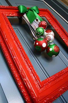 "DIY Framed Christmas ""Wreath"" Alternative"
