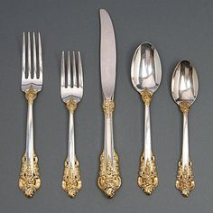 Wallace Sterling Flatware in the Grand Baroque Pattern with Gilt Vermiel Wash