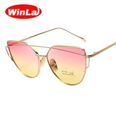 4110b0109a Winla Moda Diseñador de la Marca gafas de Sol Mujeres Del Ojo de Gato gafas  de Sol de Marco de Metal Plana gafas de Sol Lentes de Colores Vintage  Shades ...