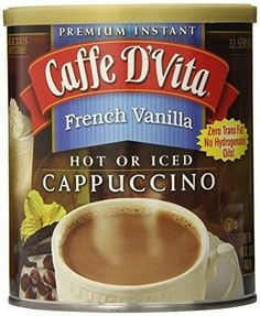 Caffe D'Vita White Chocolate Cappuccino in canisters, flavored cappuccino mix. One pound can of premium quality flavored cappuccino mix. Superior tasting flavored gourmet cappuccino mix in resealable canisters. French Vanilla Cappuccino, Caramel Cappuccino, Gourmet Gifts, Gourmet Recipes, Peanut Butter And Co, Coffee Substitute, White Chocolate Raspberry, Chocolate Brown, Peppermint Mocha