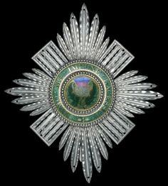 Order of the Thistle, a late century hinged breast star, 110 x circa 'presumed' to have been worn by Admiral Sir George Stewart, K. British Crown Jewels, Grand Cross, Chivalry, Jewelry Art, Jewellery, Coat Of Arms, Amazing Art, Eye Candy, Badge