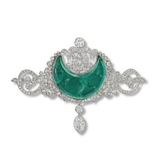 Emerald and diamond brooch, c. 1910