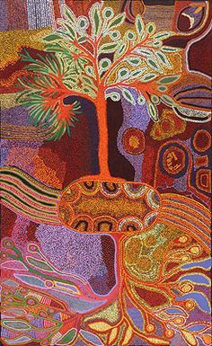 Katanari Tjillya / Tree of Life (in collaboration w/ Alison Riley, Nyurpaya Kaika, Nurina Burton) 2011 198 x (quilt inspiration) Native Art, Art Painting, Folk Art, Australian Art, Aboriginal Artwork, Tree Art, Art Projects, Art, Space Art