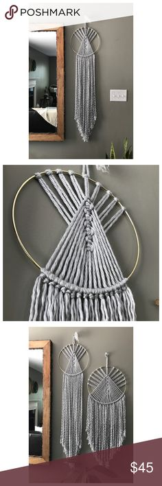 Macramé wall hanging Handmade Dream Catcher Macrame Wall Hanging. Made with gray yarn and gold ring. This listing is for one wall hanging. 50 inches long 12 inches wide. Other