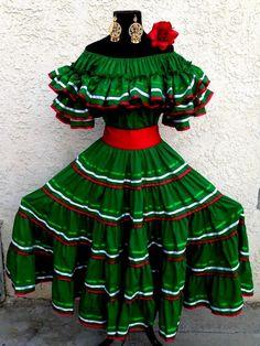MEXICAN DRESS FIESTA,5 DE MAYO,WEDDING TRICOLOR/GRN offSHOULDERw/REDsash 2PC #Handmade #Sundress #Formal