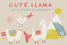 Cute llama clipart By Poppymoon Design