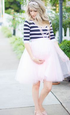 Parisian Chic in Stripes and a Pink tulle skirt | J'adore Lexie Couture