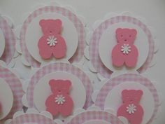 Teddy Bear Cupcake Toppers  Bubble Gum Pink and by Whimsiesbykaren