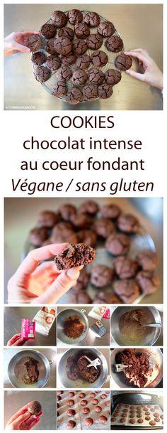 #Recette de #cookies #extra au #chocolat #croquant et #coeur #fondant #vegan #sansgluten à la farine de #châtaignes et #cacao