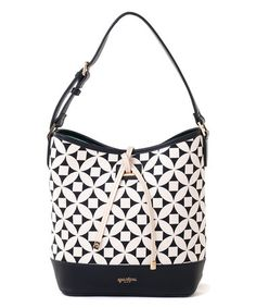 Another great find on #zulily! Black & White Kiawah High-Tie Leather Bucket Bag #zulilyfinds