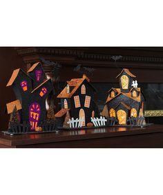 LED Glitter Haunted House Décor Set