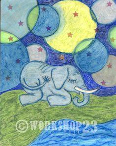 baby elephant art print 8x10 nursery moon stars by workshop23, $20.00