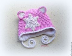 "Плюшевая шапочка ""Кошечка-снежинка"" - розовый, плюшевая пряжа, зимняя шапочка, шапочка с ушками, handmade, for kids"