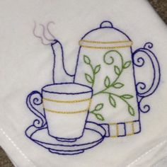 """A fun Sunday project, to stitch an Aunt Martha's transfer on a tea towel. Materials: one of 9 designs in """"Java Break"""" set; 1 30"""" x 30"""" cotton flour sack towel, DMC floss. Design stitched using 4 strands of floss. 6 seemed too much, and 4 nearly so. Next time I think I'll use 3 strands, or maybe some perle cotton. These are fun, quick, fairly easy, and inexpensive. They make such nice little gifts Towel Embroidery, Floral Embroidery Patterns, Cross Stitch Embroidery, Quilt Patterns, Embroidery Designs, Sewing Crafts, Sewing Projects, Applique Pillows, Dmc Floss"""