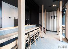Hana Sushi Manufaktura, Łódź.   Modern japanese restaurant. www.milkdesigns.pl Hana Sushi, Japanese, Modern, Design, Projects, Trendy Tree, Japanese Language