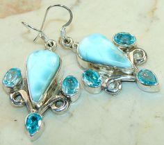 Earrings with Lamar, Blue Topaz Gemstones