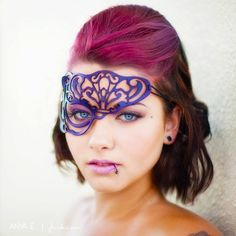 Vixen half mask in purple leather. $32.00, via Etsy.