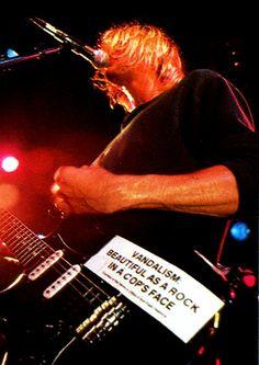Nirvana Kurt Cobain Vandalism Sticker Strat Guitar NEW - Correct Fonts! Nirvana Kurt Cobain, Nirvana Songs, Nirvana Band, Strat Guitar, Fender Strat, Donald Cobain, Police, Music Aesthetic, Aesthetic Pictures
