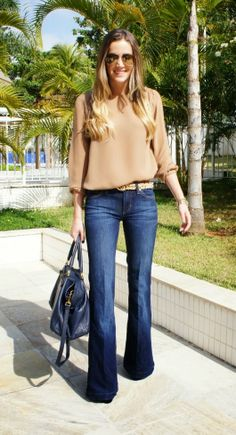 Awesome leopard belt, blouse, and lovely flare jeans