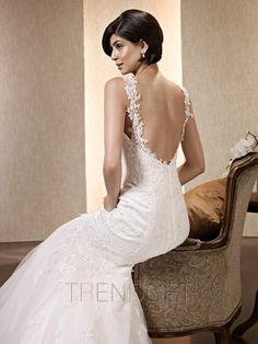 Appliques Trumpet / Mermaid Tulle Straps Wedding Dresses