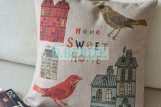 Sweet bird wood carving art pillow case decor cushion cover square 45 cm (blue00sky from Ebay) £7.99
