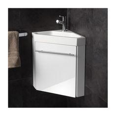 Lave-mains d'angle complet pour WC avec meuble design blanc - Salle de bain, WC