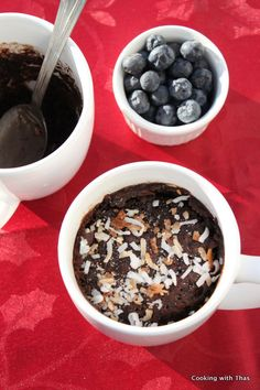 Eggless Chocolate Cake in a mug- not the best cake ever, but good for a weeknight dessert when you have nothing in the house.  Great with chocolate syrup poured on :)