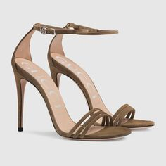 ea4edb846 Gucci Suede sandal Detail 3 Brown Sandals, Suede Sandals, Brown Suede, Ankle  Strap