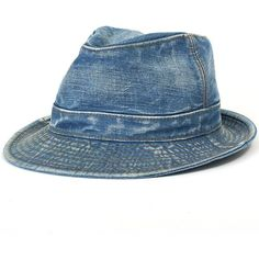 ililily Vintage Washed Denim Cotton Classic Structured Fedora Hat... ($16) ❤ liked on Polyvore featuring men's fashion, men's accessories, men's hats, mens fedora hats, mens fedora, mens hats fedora and mens hats