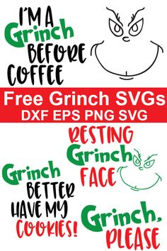 Free Grinch SVGs - Resting Grinch Face and So Many More! - Cricut/SVG - These fun and free Grinch SVG files are perfect for celebrating the movie or for Christmas crafting - Grinch Christmas Decorations, Merry Christmas, Christmas Vinyl, Christmas Shirts, Christmas Projects, Holiday Crafts, Office Christmas, Christmas Vacation, Christmas Quotes