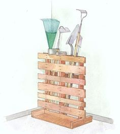 Pallet as heavy duty yard tools storage.