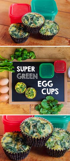 Popeye-approved, this egg cup recipe is loaded with three types of green vegetables. Sprinkle these with chopped chives. // Recipe // recipes // breakfast // fit food // eat clean // fitspo // diet // nutrition // 21 day fix // Breakfast And Brunch, 21 Day Fix Breakfast, Breakfast Recipes, Breakfast Ideas, Brunch Ideas, Healthy Snacks, Healthy Eating, Healthy Recipes, Eat Clean Recipes