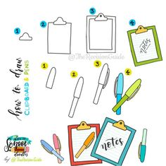 Back to school doodles ©TheRevisionGuide Doodles and lettering from… Doodle Drawings, Easy Drawings, Doodle Art, Planner Doodles, Bujo Doodles, Note Doodles, Bubble Stickers, Kawaii Doodles, Doodle Lettering