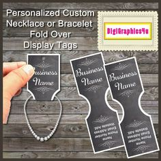 Personalized Necklace or Bracelet Jewelry Fold Over Display Tags Printable Digital File by DigiGraphics4u on Etsy