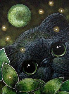 """Black Kitten with Green Flowers Moon and Fireflies"" par Cyra R. Pretty Cats, Beautiful Cats, Black Cat Art, Black Cats, Kitten Drawing, Cat Crafts, Art Portfolio, Animal Paintings, Crazy Cats"