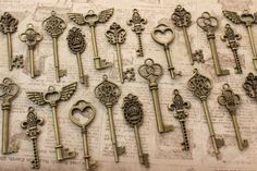 40 Key of Romantic Antique Brass Skeleton Keys by PineappleSupply, $18.40