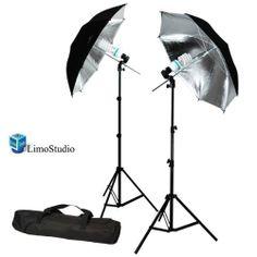 "LimoStudio 6500K Day Light 400 Watt Photography 33"" Silver Reflector Umbrella Continuous Photo Lighting Kit 