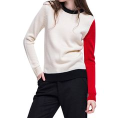 Eastabile Women Patchwork Soft Sweater Slim Sweatershirt (S, Beige) -- Awesome products selected by Anna Churchill