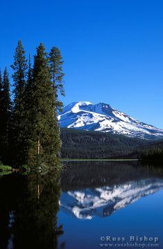 Morning light on South Sister reflected in Sparks Lake, Deschutes National Forest, Oregon; photo by Russ Bishop