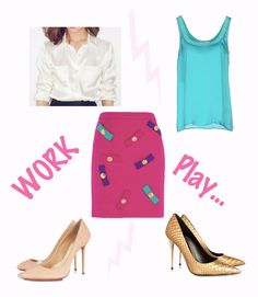 Boutique Moschino Embellished wool-crepe mini skirt  Blumarine Silk Blouse  Tom Ford Metallic Python pumps  Charlotte Olympia Party Monroe PVC-trimmed suede pumps
